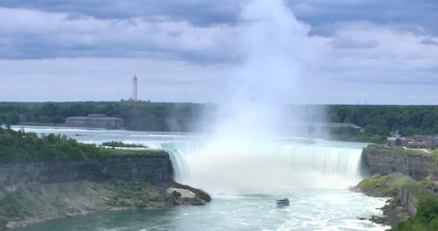 An establishing shot of the Horseshoe Falls on a summer day.