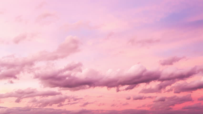 4k Timelapse of beautiful pink sunset sky turning to blue evening sky