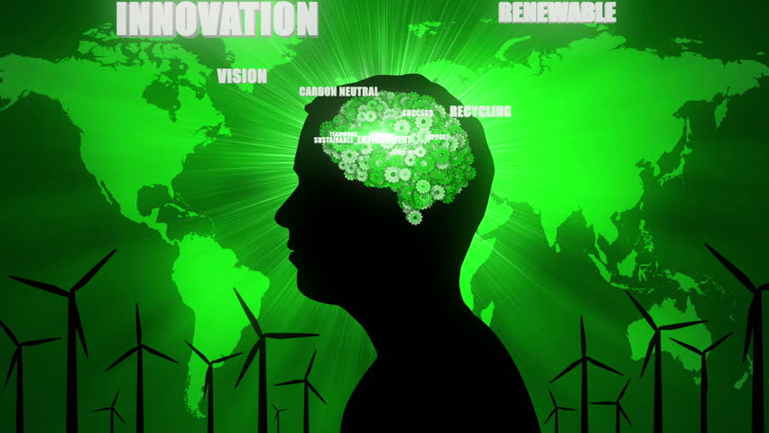 Silhouette of man thinking about environmental issues such as recycling and renewable energy.