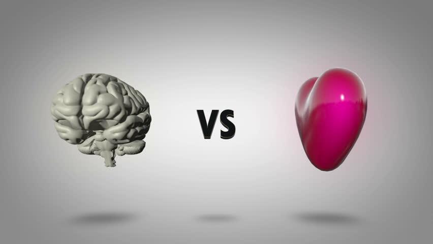 Heart vs head: Logic versus emotion - seamless looping CGI animation