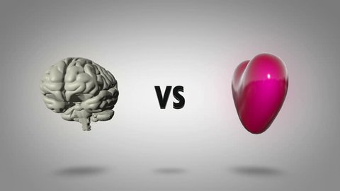 Heart vs head: Logic versus emotion - seamless looping CGI animation