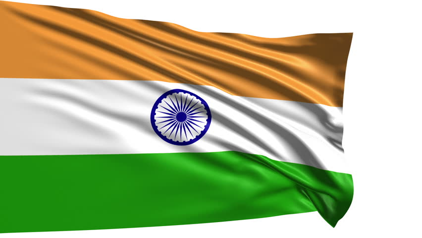 Indian Flag Animated: India Flag Waving Against Time-lapse Clouds Background