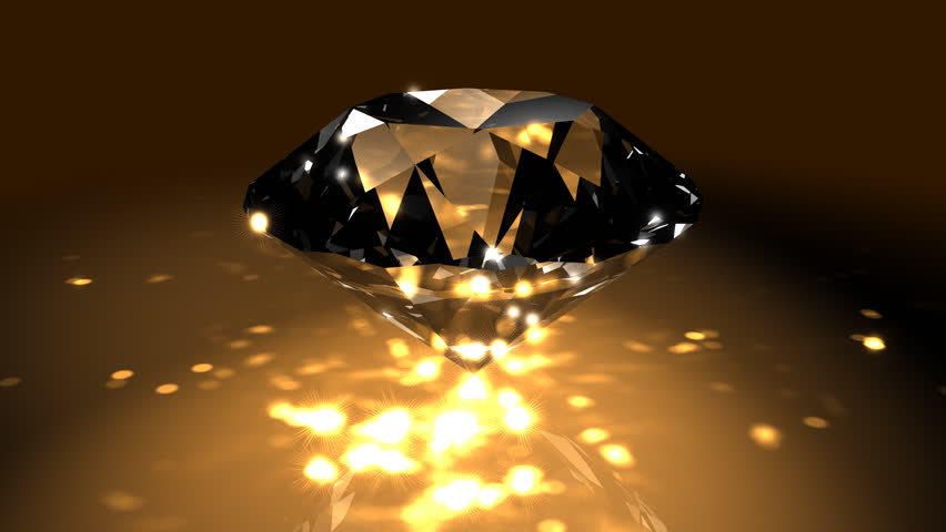 Gold Spinning Shiny Diamond - Diamond 04 (HD) - Motion background in gold with spinning shining diamond. Nice reflections and highlights. Seamless loop.