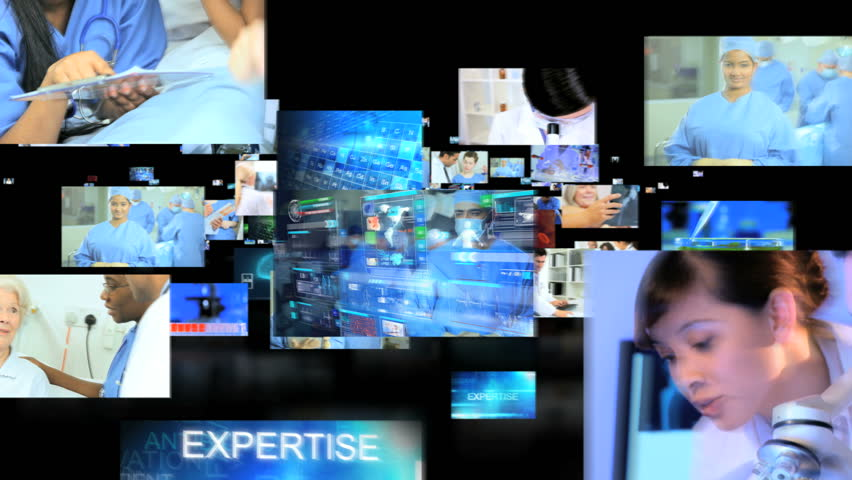 3D video montage fly through of Multi ethnic male female medical team care patients touch screen diagnosis display motion graphics | Shutterstock HD Video #6725920