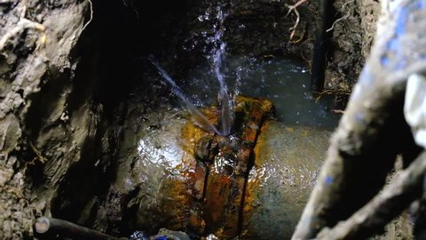 Close up, Couple of asbestos cement water pipe broken, 300 mm diameter class 25, Over 20 years