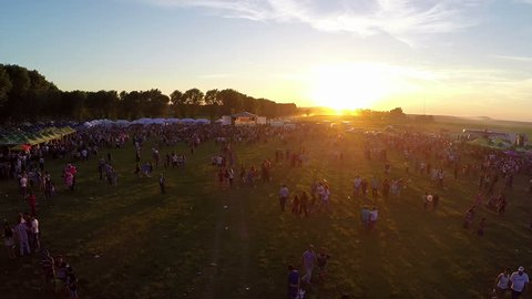 Luncavita, Romania - 29 June 2014: Linden tree festival, aerial perspective.A festival with music, fun and a lot of nature.