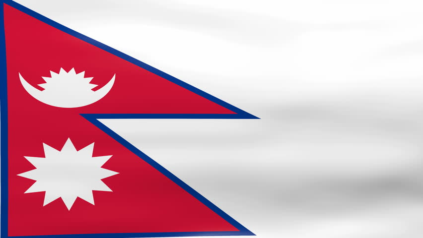 waving nepal flag, ready for seamless loop. stock footage video