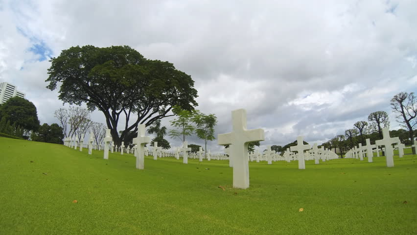 Timelapse at the Manila American cemetery and Memorial in Philippines