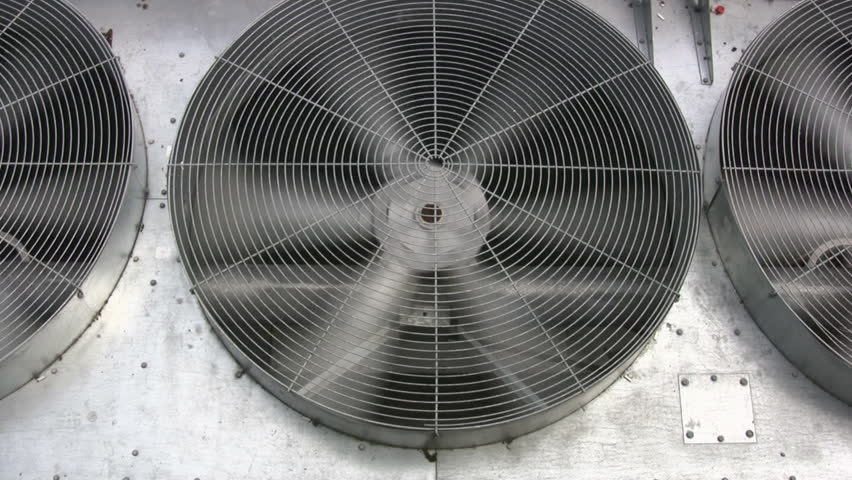 Industrial Air Conditioning Fan Blades Stock Footage