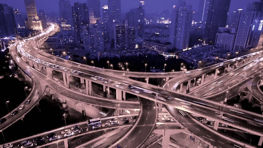 Aerial View of freeway busy city rush hour heavy traffic jam highway,shanghai Yan'an East Road Overpass interchange,Timelapse of driving & cars racing by with streaking lights trail at nigh. gh2_07402   Shutterstock HD Video #6805990