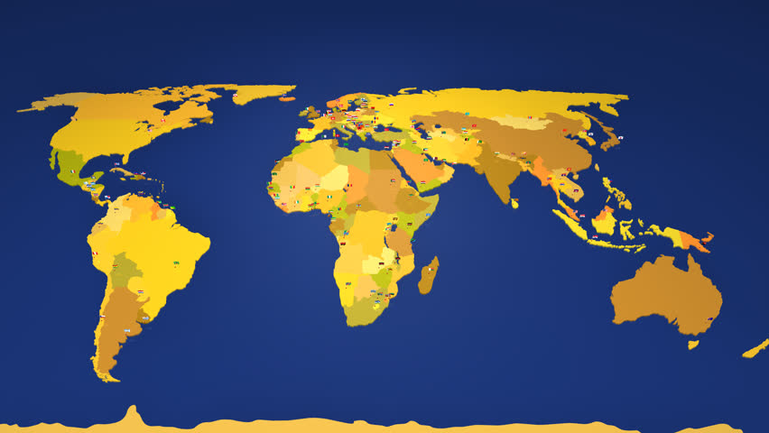 Loop animation of an illuminated world map countries light up in worldmap with all the capital cities of the world each capital has the national flag gumiabroncs Choice Image