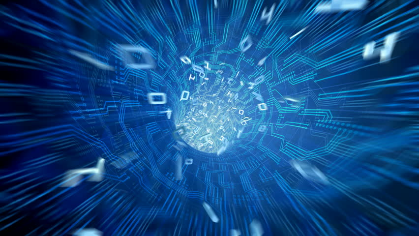 Data tunnel journey. Loopable animation in 4k. Shot inside fibre optic cable. Transmission of digital information as a binary signal