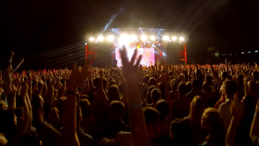 Crowd at a rock concert, back light silhouette  | Shutterstock HD Video #6875380