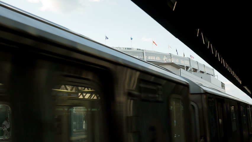 NEW YORK - JULY 17, 2014: Yankee Stadium subway station in the Bronx, New York. Yankee Stadium is the home ballpark for the New York Yankees of Major League Baseball.
