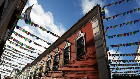 Pelourinho, Salvador, Brazil. Bunting covering the streets of the Pelourinho district of Salvador. The bunting is in place for one of the many carnivals the city has during the year.