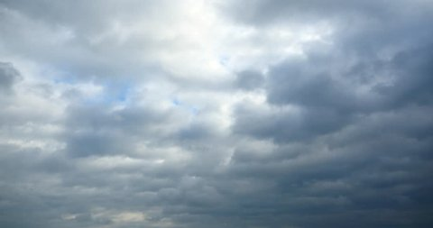 4k Panoramic of dark altocumulus clouds smoke slowly flying in cloudy sky. gh2_08303_4k
