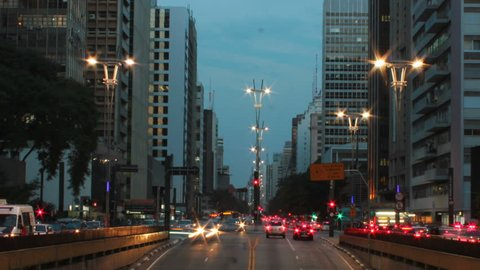 Rush hour on Avenida Paulista, Sao Paulo - Brazil - timelapse. Paulista avenue is one of the most important avenues in Sao Paulo.