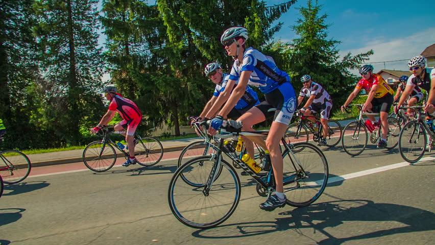 VRHNIKA, SLOVENIA - JUNE 2014: Bicycle marathon competition around Vrhnika. Slow motion of cyclists from marathon competition in Slovenia | Shutterstock HD Video #6939505