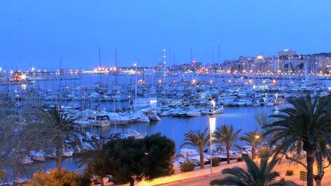 Palma de Mallorca Marina - Port de Mallorca, timelapse at Night, Spain