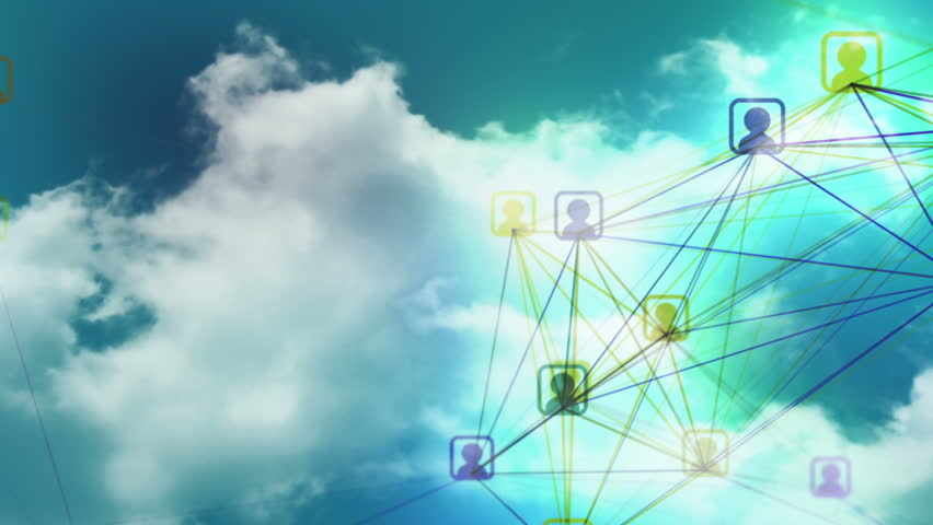 Social network loop animation with cloud background. Representing cloud networks, teamwork, cooperation, social media marketing, online communities and user groups etc. | Shutterstock HD Video #6964849