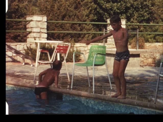 Childrens swimming competition (vintage 8 mm amateur film)