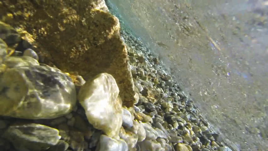 Underwater of a mountain lake recorded at slow motion 60fps