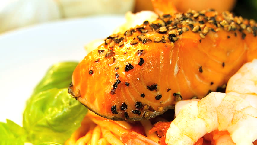 Tempting low-fat meal of fresh salmon & seafood pasta