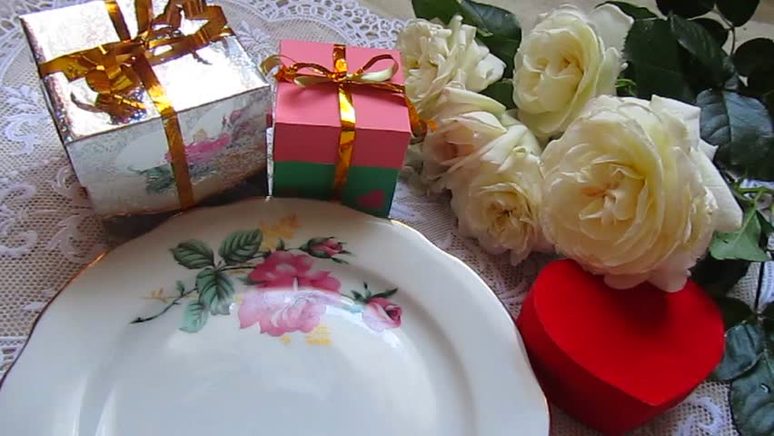 Birthday Cake And Gifts Party Decoration Boxes Roses Flowers Beautiful Background With Lacy Serviette Celebratory Video