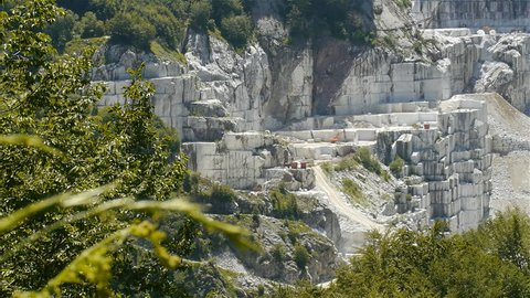 Marble extraction site in Carrara mountains