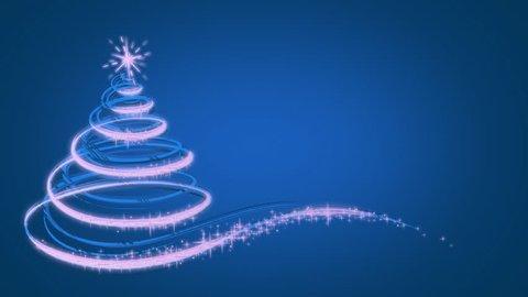 Animated Christmas tree on Blue