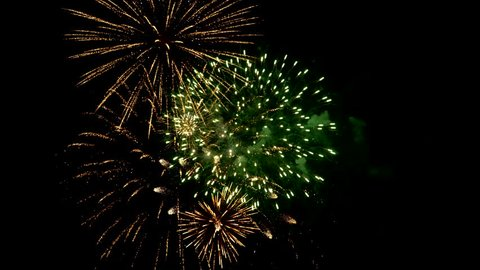 Fireworks Video Compilation 4k . Combined from several dozen firework shots to create final composited scene.
