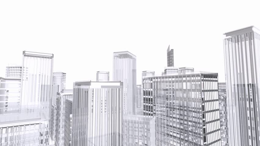 View Of Rotating Architecture Model City Buildings