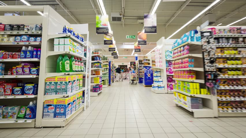 QUIMPER, FRANCE - AUGUST 6, 2014: Super U market. Systeme U is a French retailers' cooperative, comprising about eight hundred independent supermarkets, it is the 6th largest retail group in France.