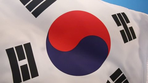 Flag of South Korea (Taegeukgi)  - It has three parts - a white background, a red and blue taegeuk (also known as Taiji and Yinyang) in the center, and four black trigrams, one in each corner.
