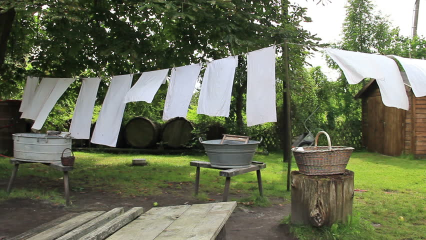 Laundry hanging on clothesline. Old vintage Lusatian farm. Laundry in skansen (open : jewish tent holiday - memphite.com