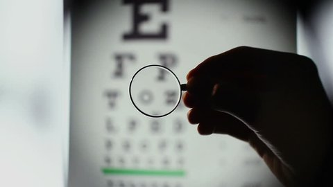 Eyesight examination, optometrist choosing lenses for glasses. Patient looking at table with letters, doctor helping person to see better through spectacles. Eyesight check at ophthalmology clinic