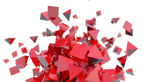 modern background of red glossy pyramids in abstract motion - seamless (FULL HD)