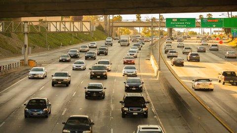 4K Los Angeles Highway Sunset Timelapse Traffic Rush Hour Cars