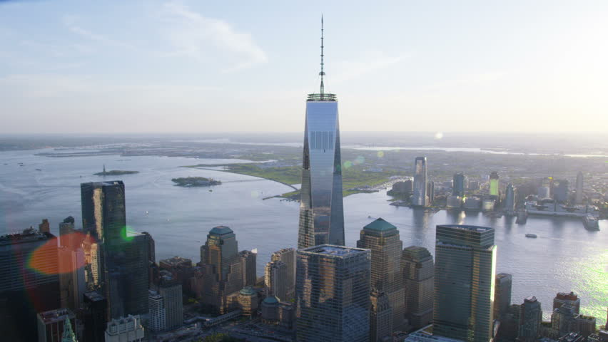 Aerial view of the One World Trade Center known as the Freedom Tower at Ground Zero in Lower Manhattan, New York City. Flying over the Iconic skyscraper and the Financial District.