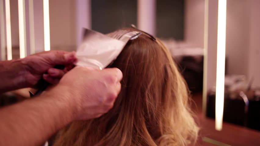 Hairdresser Prepares Foil Highlights In Stock Footage Video 100