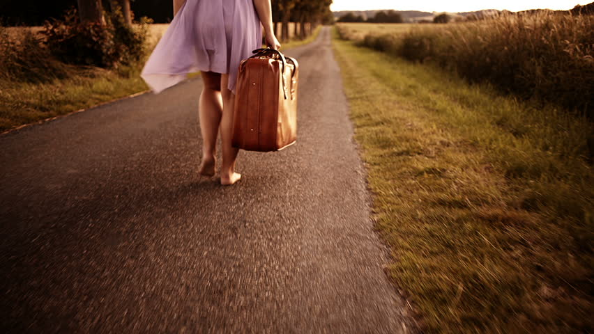 Image result for free images barefoot girl with suitcase walking on the road