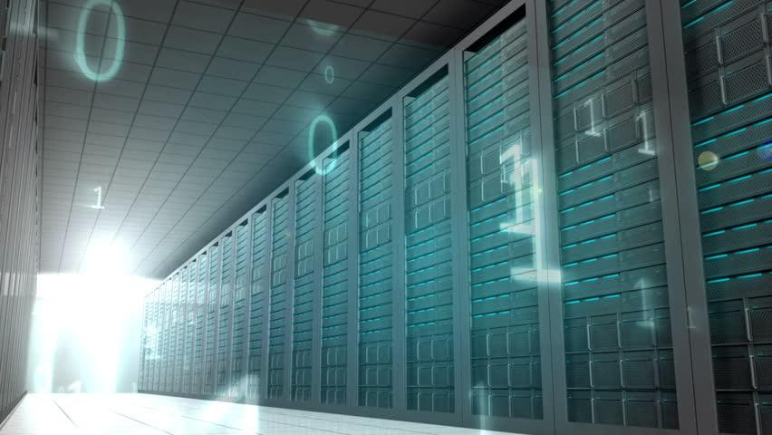 Digital animation of Binary code in server room | Shutterstock HD Video #7264126