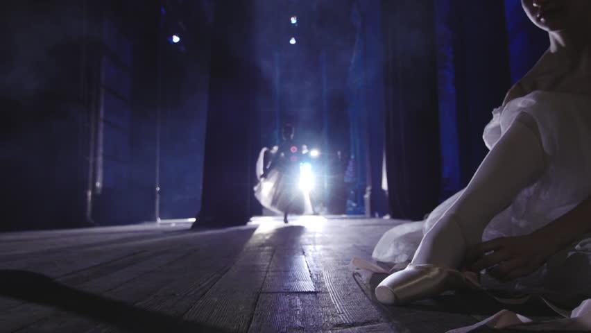 Stock video footage classical ballet ballerina backstage preparing