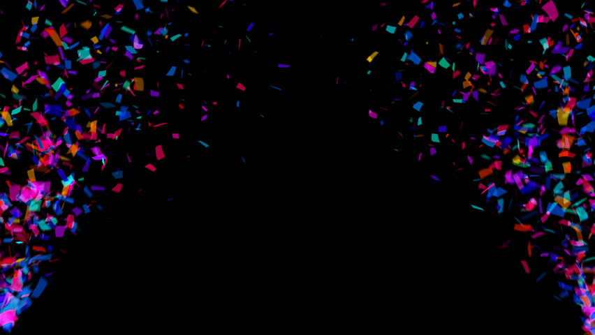 Animation of colorful falling confetti (luma matte included)
