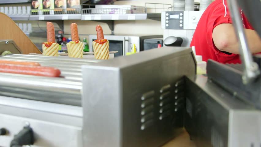 Female employee working in fast food lunch dinner | Shutterstock HD Video #7357900
