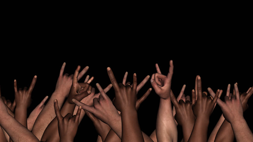 Event Hands - Black & White Male Horns - Alpha - Loop - Energetic support or protest crowd for music, politic, sport, VJ, social show as overlay and background. 3D animation with transparent back.