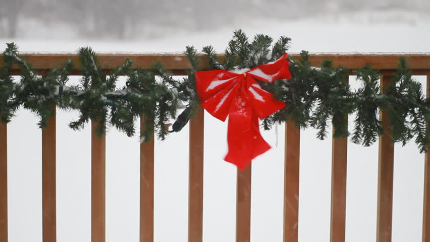 winter storm blowing outdoor christmas stock footage video 100 royalty free 737380 shutterstock - How To Decorate Outdoor Railing For Christmas