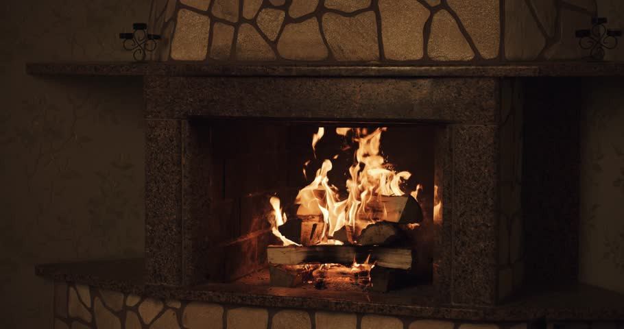 Slow Motion Fireplace Burning. Warm Cozy Burning Fire In A Brick ...