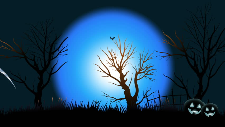 halloween death grim reaper walk angry across screen halloween background blue sky with bats - Halloween Background Video