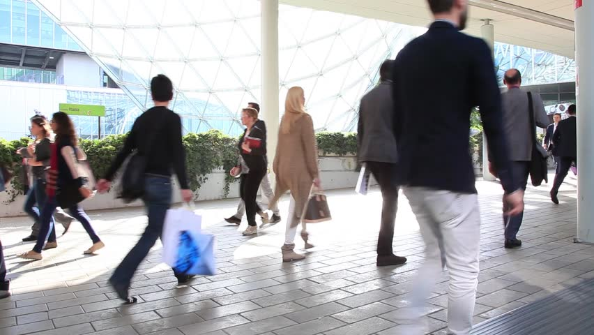 MILANO - APRIL 10, 2014: People visiting Salone del Mobile, international home furnishing and accessories design exhibition in Milano, Italy. Slow motion version. | Shutterstock HD Video #7398238